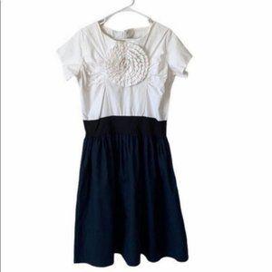 Shabby Apple Rosette Flower White Black Dress Sz L